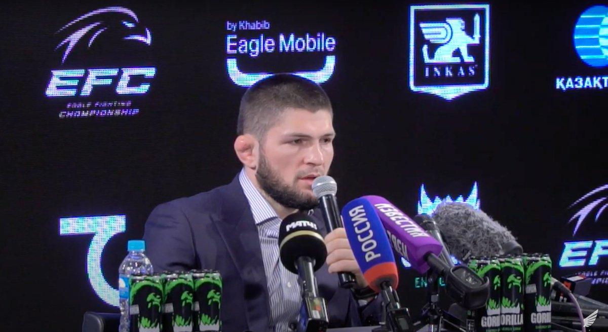 Khabib Nurmagomedov at a press conference