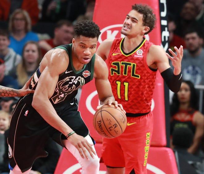 Milwaukee Bucks Giannis and Atlanta Hawks Trae