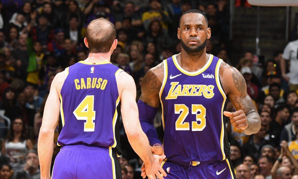 LA Lakers Alex Caruso and Lebron James
