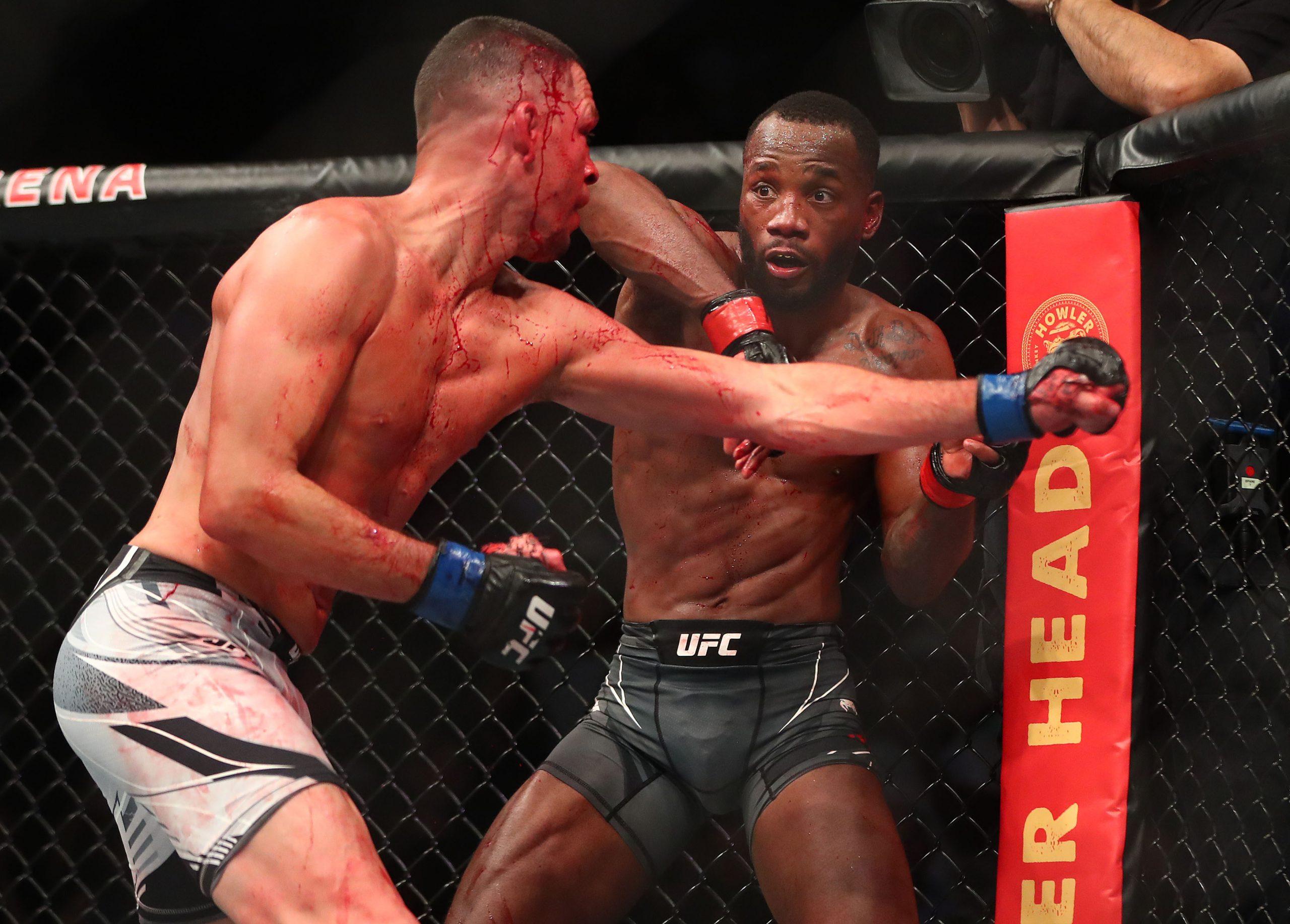 Nate Diaz hitting Leon Edwards at UFC 263
