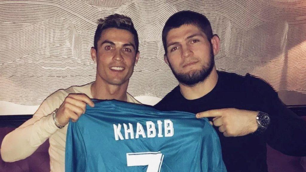 Khabib Nurmagomedov with football star Cristiano Ronaldo