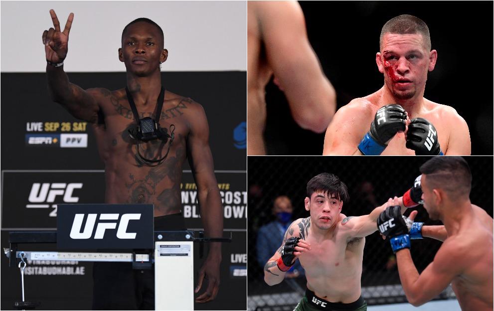 Israel Adesanya, Nate Diaz and Brandon Moreno at UFC 263