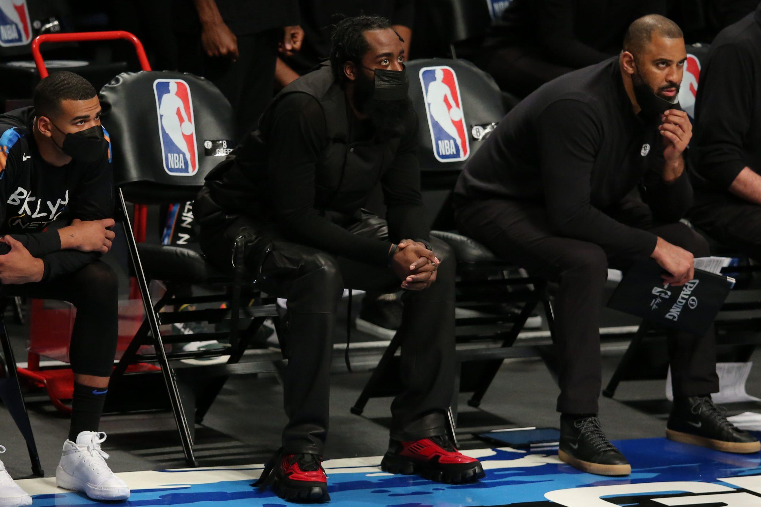 Brooklyn Nets superstar James Harden on bench