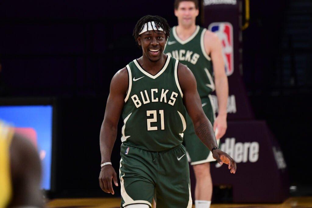 Milwaukee Bucks Jrue Holiday celebrates