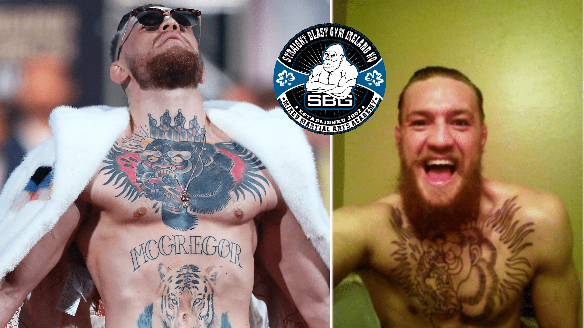 Conor McGregor chest tattop: gorilla with a crown eating a heart