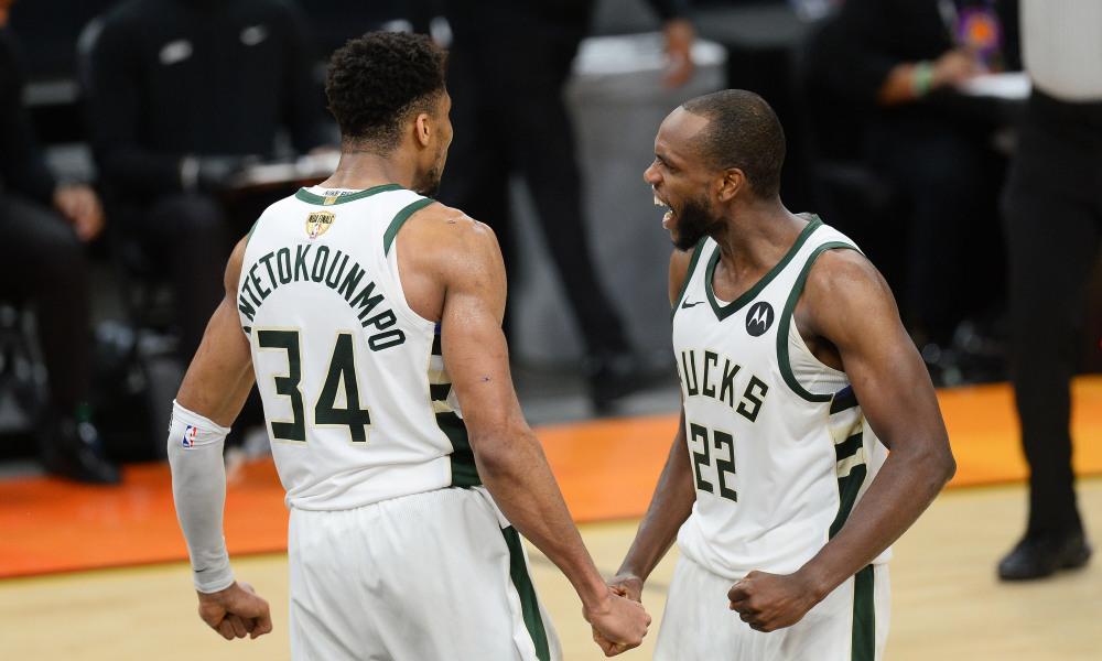 Milwaukee Bucks superstars celebrate after defeating Phoenix Suns