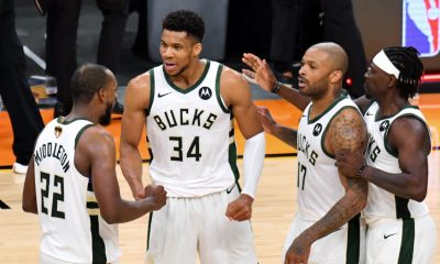 Milwaukee Bucks celebrate defeating Phoenix Suns