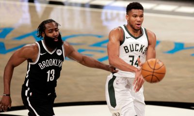 James Harden and Giannis Antetokounmpo in game