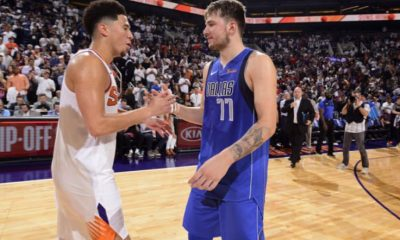 Luka Doncic with Devin Booker