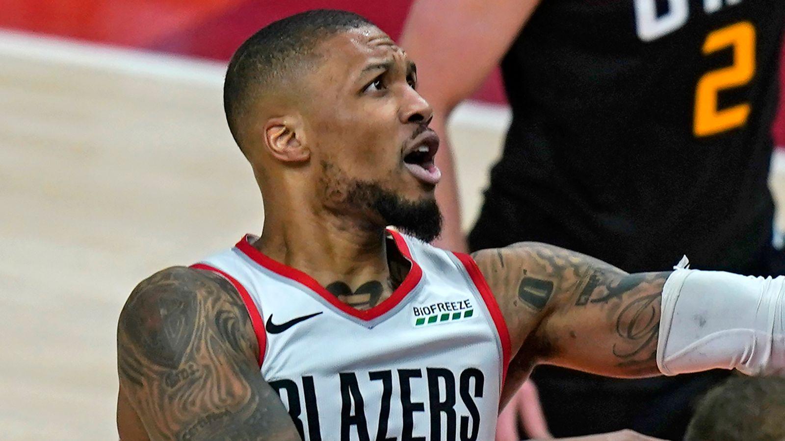 Portland Trail Blazers Damian Lillard in game